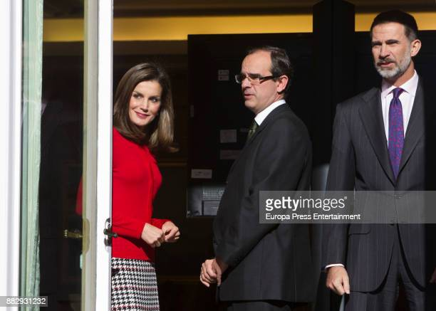 King Felipe of Spain and Queen Letizia of Spain attend a meeting for the commemoration of the First Expedition of Fernando de Magallanes and Juan...