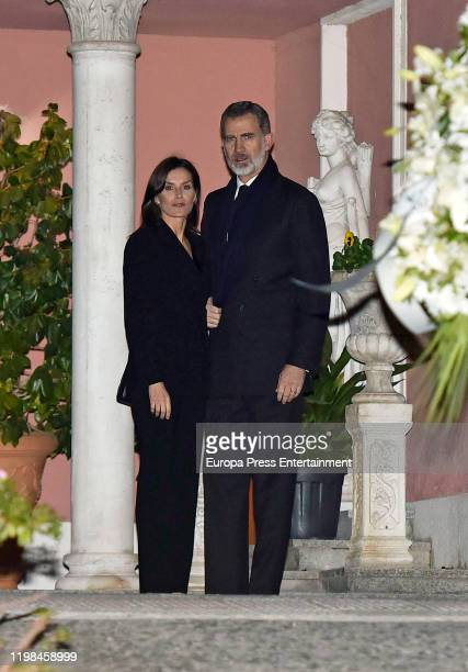 King Felipe of Spain and Queen Letizia of Spain attend Princess Pilar de Borbon Funeral Chapel on January 08 2020 in Madrid Spain