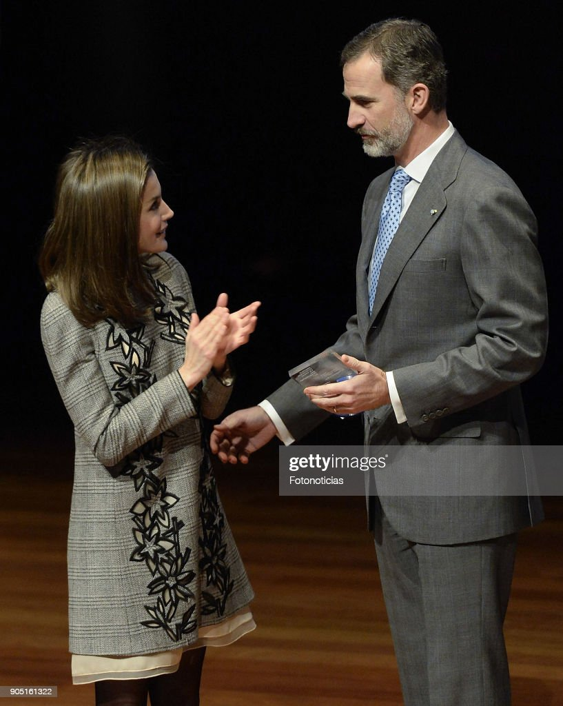 King Felipe of Spain and Queen Letizia of Spain attend Terrorism Victims Foundation Awards at Reina Sofia Museum on January 15, 2018 in Madrid, Spain.