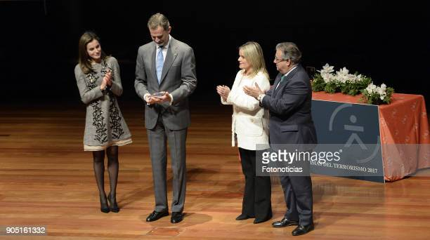King Felipe of Spain and Queen Letizia of Spain attend Terrorism Victims Foundation Awards at Reina Sofia Museum on January 15 2018 in Madrid Spain