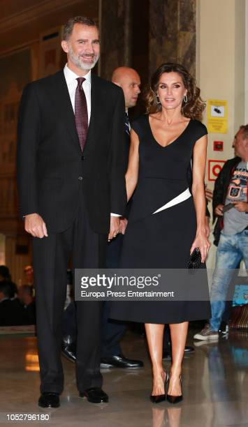 King Felipe of Spain and Queen Letizia of Spain attend the awarding ceremony of the 35th Francisco Cerecedo Journalism Awards to Ruben Amon on...