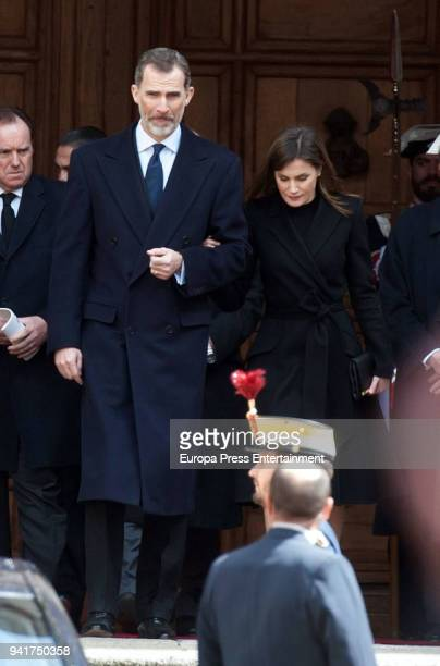 King Felipe of Spain and Queen Letizia of Spain attend the mass for Count of Barcelona's 25th Anniversary's Death at the monastery of El Escorial on...