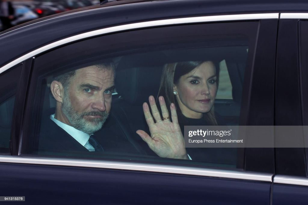King Felipe of Spain and Queen Letizia of Spain attend the mass to mark the 25th Anniversary of the Count of Barcelona's death at the monastery of El Escorial on April 3, 2018 in El Escorial, Spain. The Count of Barcelona, Don Juan de Borbon, is the father of former King Juan Carlos.