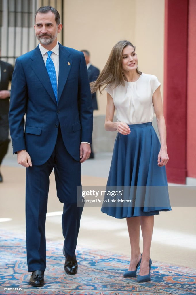 King Felipe of Spain and Queen Letizia of Spain attend the meeting with members of Princess of Asturias Foundation at El Pardo palace on June 16, 2017 in Madrid, Spain.