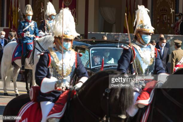 King Felipe of Spain and Queen Letizia of Spain attend the National Day Military Parade on October 12, 2021 in Madrid, Spain.