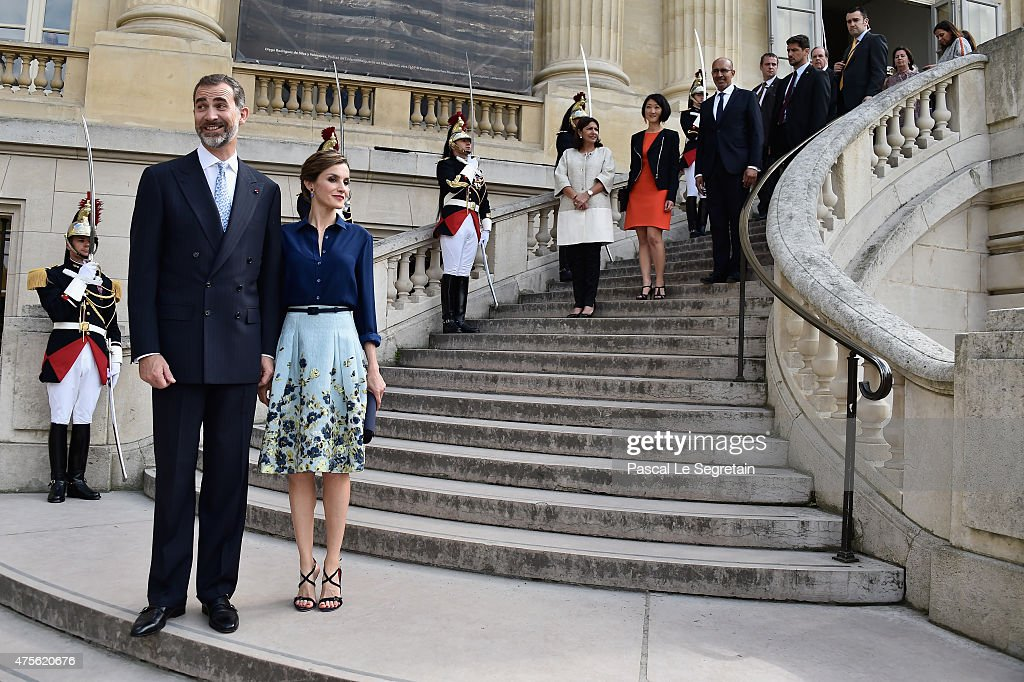 King Felipe of Spain and Queen Letizia of Spain attend the Velasquez painting exhibition at the Grand Palais on June 2, 2015 in Paris, France.