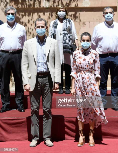 King Felipe of Spain and Queen Letizia of Spain during a visit to Antonio Machado Secondary School on July 15 2020 in Soria Spain This trip is part...