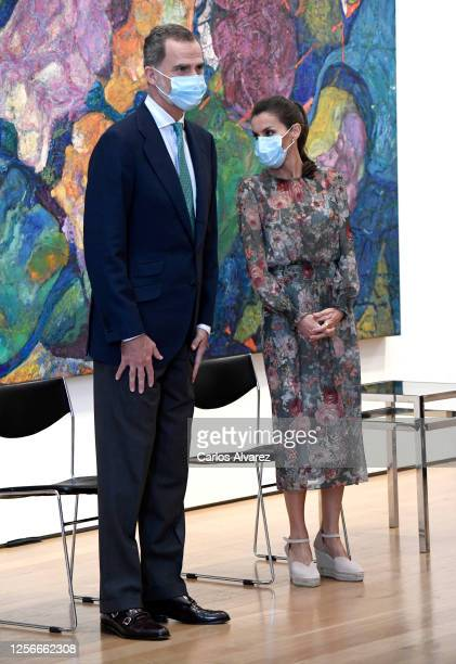 King Felipe of Spain and Queen Letizia of Spain during a visit to the Fine Arts Museum on July 17 2020 in Bilbao Spain This trip is part of a royal...
