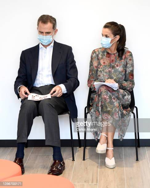 King Felipe of Spain and Queen Letizia of Spain during a visit to the new headquarters of the San Prudencio Foundation on July 17 2020 in Vitoria...