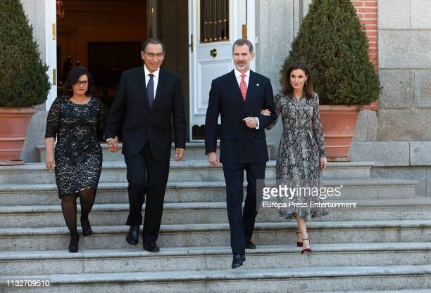 King Felipe of Spain and Queen Letizia of Spain host an official Lunch for President of Peru Martin Vizcarra and His Wife Maribel Diaz Cabello on...