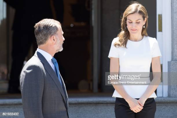 King Felipe of Spain and Queen Letizia of Spain host an official lunch for president of Slovenia Borut Pahor at Zarzuela Palace on June 27 2017 in...