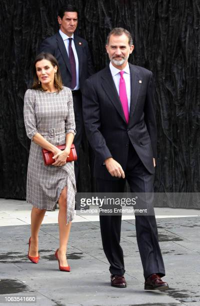 King Felipe of Spain and Queen Letizia of Spain leave at the inaugural act of the bicentennial of the Prado Museum on November 19 2018 in Madrid Spain