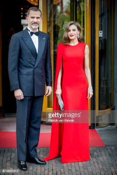 King Felipe of Spain and Queen Letizia of Spain leave their hotel to attend the private birthday party of King WillemAlexander of The Netherlands in...