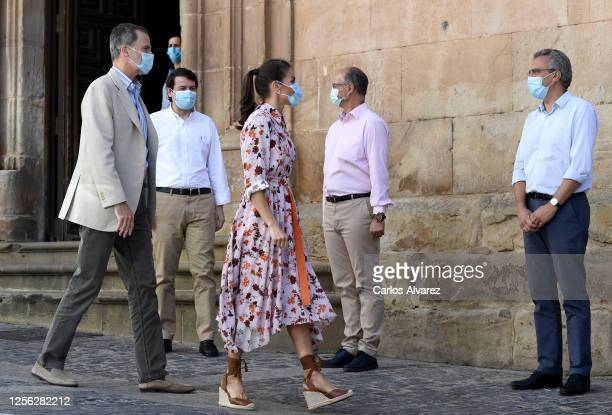King Felipe of Spain and Queen Letizia of Spain meet delegates during a visit to Antonio Machado Secondary School on July 15 2020 in Soria Spain This...