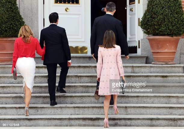 King Felipe of Spain and Queen Letizia of Spain offer a lunch to Mexican President Enrique Pena Nieto and his wife Angelica Rivera at Zarzuela Palace...