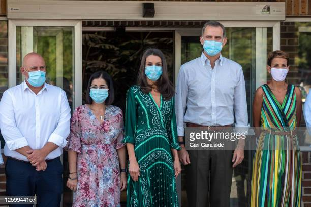 King Felipe of Spain and Queen Letizia of Spain pose during their visit to the Ramon y Cajal center of Aspace of Navarra in Cizur Menor on July 27,...