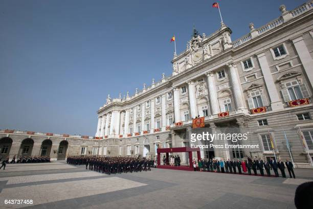 King Felipe of Spain and Queen Letizia of Spain receive Argentinian President Mauricio Macri and his wife Juliana Awada at the Royal Palace on...