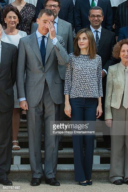 King Felipe of Spain and Queen Letizia of Spain receive Colegios del Mundo Unido Foundation at Zarzuela Palace at Zarzuela Palace on June 24 2016 in...