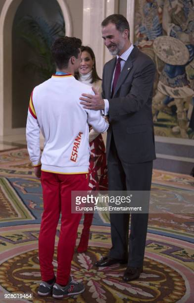 King Felipe of Spain and Queen Letizia of Spain receive the artistic skater Javier Fernandez from the Spanish team at 2018 Winter Olympic Games on...