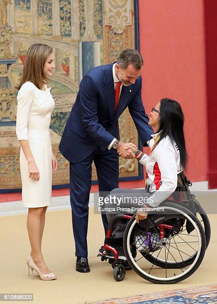 King Felipe of Spain and Queen Letizia of Spain receive the Spanish medalist in 2016 Rio Paralympic Games Teresa Perales at El Pardo Palace on...