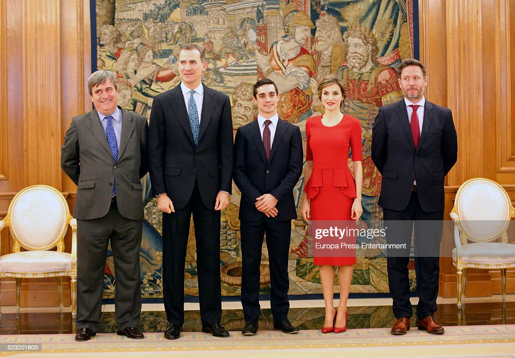 King Felipe of Spain (2L) and Queen Letizia of Spain receive the World Figure Skating Champion Javier Fernandez (C) at Zarzuela Palace on April 22, 2016 in Madrid, Spain.
