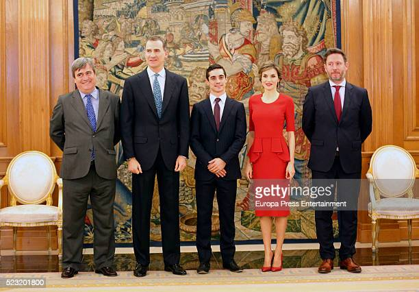 King Felipe of Spain and Queen Letizia of Spain receive the World Figure Skating Champion Javier Fernandez at Zarzuela Palace on April 22 2016 in...