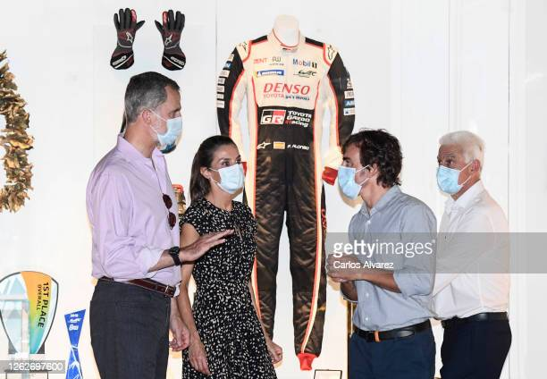 King Felipe of Spain and Queen Letizia of Spain speak with Fernando Alonso during a visit to the Fernando Alonso Museum and Circuit on July 30 2020...