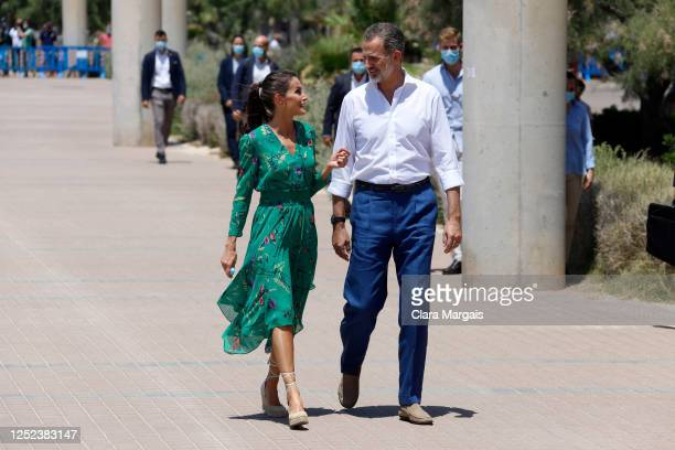 King Felipe of Spain and Queen Letizia of Spain take a walk on promenade of Platja de s'Arenal on June 25, 2020 in Palma de Mallorca, Spain. This...