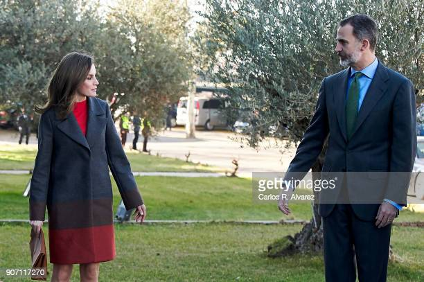 King Felipe of Spain and Queen Letizia of Spain visit the 'Joma Sport' factory on January 19 2018 in Portillo de Toledo Spain
