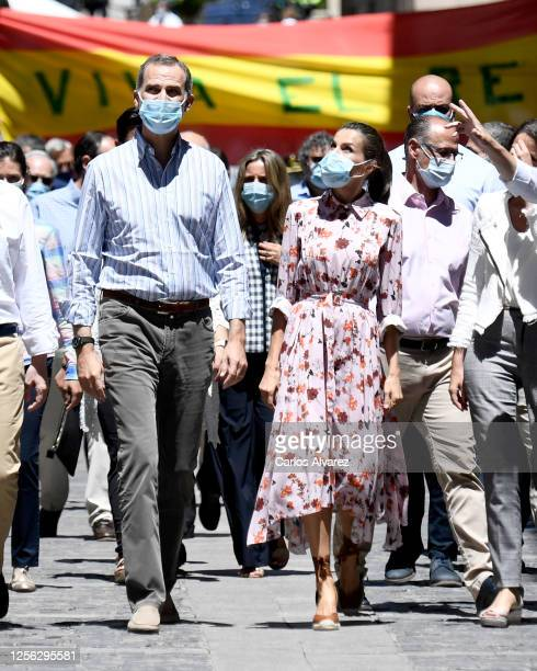 King Felipe of Spain and Queen Letizia of Spain walk through the streets during a visit on July 15 2020 in Soria Spain This trip is part of a royal...