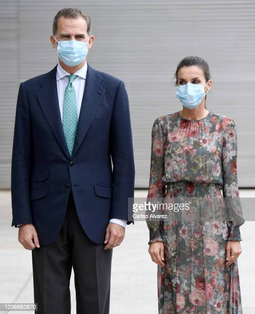 King Felipe of Spain and Queen Letizia of Spain wear face masks as they arrive for a visit to the Fine Arts Museum on July 17 2020 in Bilbao Spain...