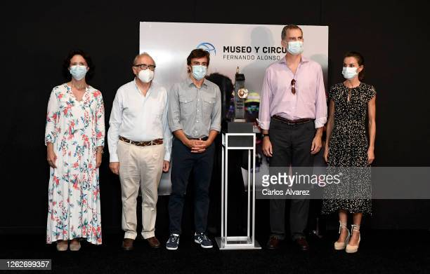 King Felipe of Spain and Queen Letizia of Spain with Fernando Alonso and guests during a visit to the Fernando Alonso Museum and Circuit on July 30...