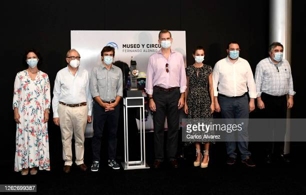King Felipe of Spain and Queen Letizia of Spain with Fernando Alonso the Minister of Culture and Sport José Manuel Rodriguez Uribes and guests during...