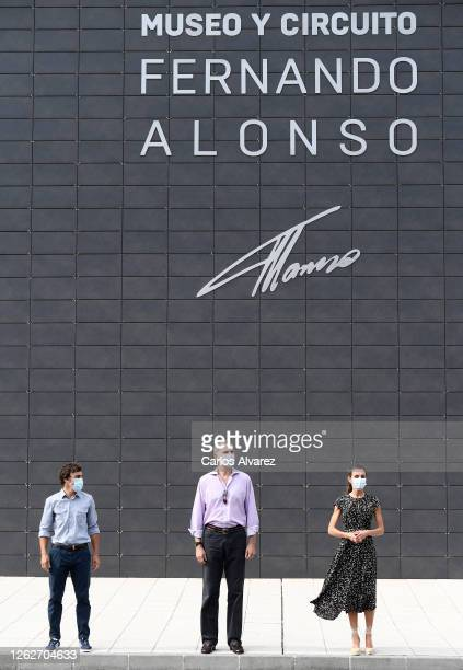 King Felipe of Spain and Queen Letizia of Spain with Fernando Alonso during a visit to the Fernando Alonso Museum and Circuit on July 30 2020 in...