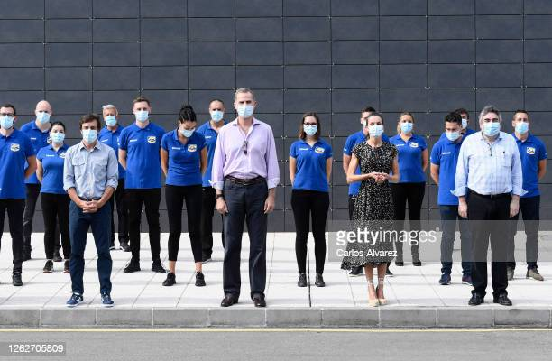 King Felipe of Spain and Queen Letizia of Spain with Fernando Alonso the Minister of Culture and Sport José Manuel Rodriguez Uribes and staff members...