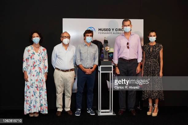 King Felipe of Spain and Queen Letizia of Spain with Fernando Alonso the Minister of Culture and Sport and guests during a visit to the Fernando...