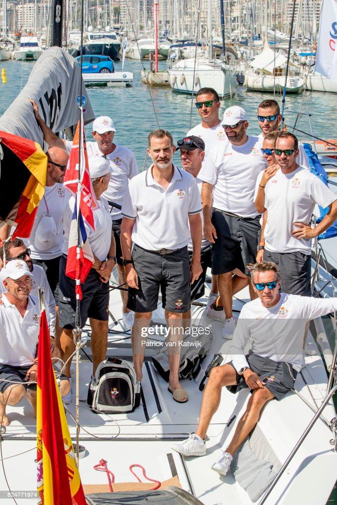 King Felipe of Spain at the Club Nautico to sail on his yaught AIFOS during the Copa del Ray race on July 31, 2017 in Palma de Mallorca, Spain.