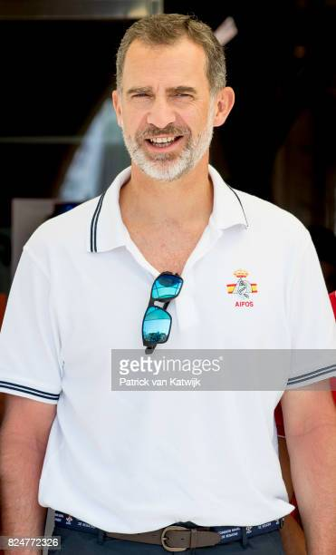 King Felipe of Spain at the Club Nautico to sail on his yaught AIFOS during the Copa del Ray race on July 31 2017 in Palma de Mallorca Spain