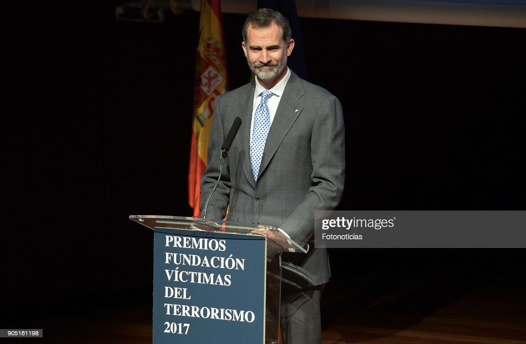 King Felipe of Spain attends Terrorism Victims Foundation Awards at Reina Sofia Museum on January 15, 2018 in Madrid, Spain.
