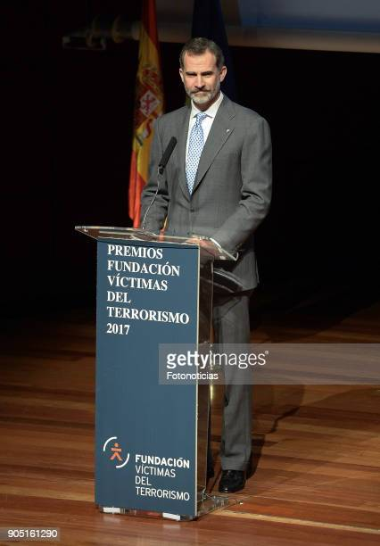King Felipe of Spain attends Terrorism Victims Foundation Awards at Reina Sofia Museum on January 15 2018 in Madrid Spain