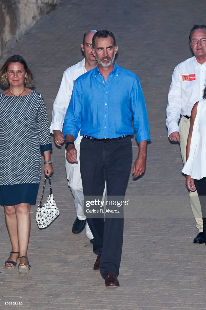 King Felipe of Spain attends the 36th Copa del Rey Mapfre Sailing Cup awards ceremony at the Ses Voltes cultural center on August 5, 2017 in Palma de Mallorca, Spain.