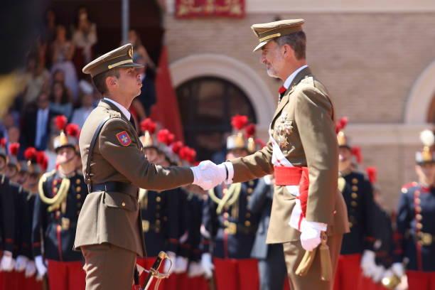 ESP: Spanish Royals Visits The Royal Cavalry Armory of Zaragoza