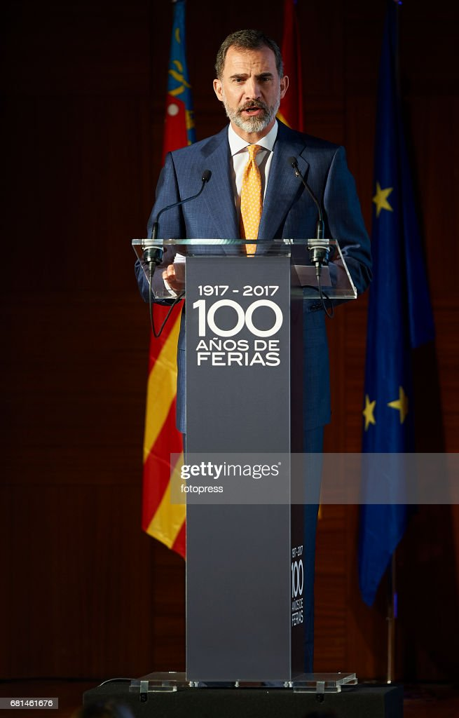 King Felipe Of Spain Attends The Celebration Of The Centenary Of Valencia's Fair Foundation