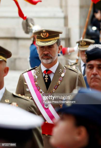 King Felipe of Spain attends the celebration of the Real and Military Order of San Hermenegildo at Real Monasterio De San lorenzo on June 12 2018 in...