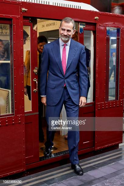 King Felipe of Spain attends the centenary commemoration of Madrid Underground first line opening on October 17 2018 in Madrid Spain