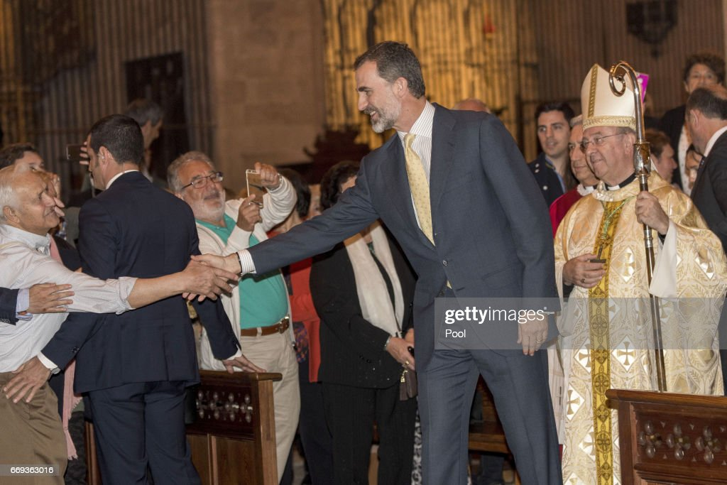 King Felipe of Spain attends the Easter Mass at the Cathedral of Palma de Mallorca on April 16, 2017 in Palma de Mallorca, Spain.