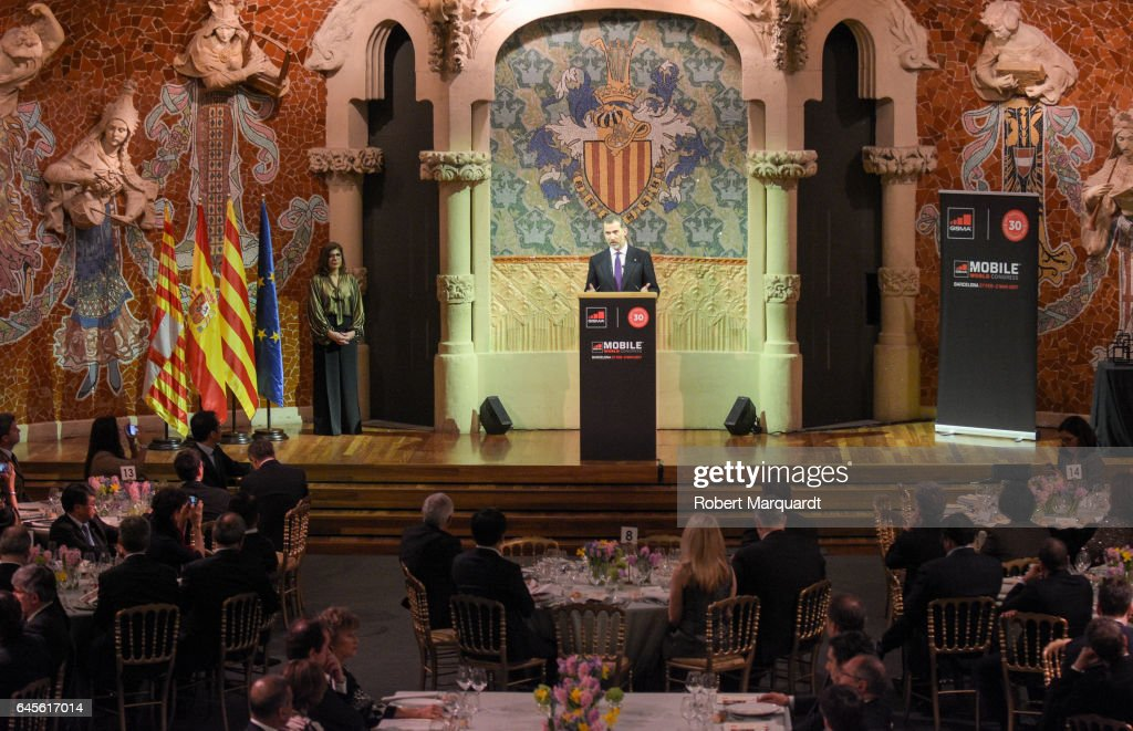 King Felipe of Spain attends the official dinner of the Mobile World Congress 2017 at Palau de la Musica on February 26, 2017 in Barcelona, Spain.