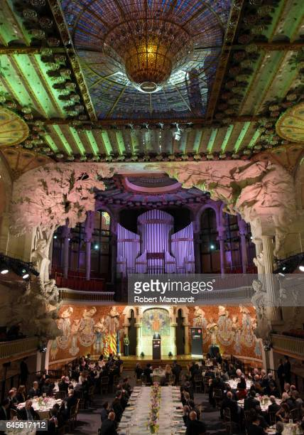 King Felipe of Spain attends the official dinner of the Mobile World Congress 2017 at Palau de la Musica on February 26 2017 in Barcelona Spain