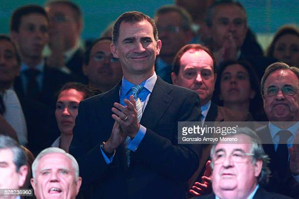 King Felipe of Spain attends the UEFA Champions League semi final second leg match between Real Madrid and Manchester City FC at Estadio Santiago...