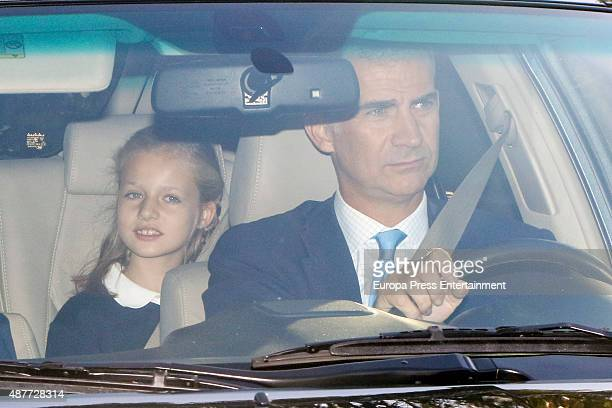 King Felipe of Spain bring his daughter Princess Leonor to school for her first day of classes on September 11 2015 in Madrid Spain